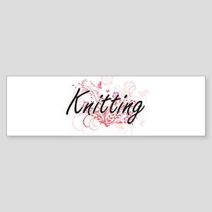 Knitting Artistic Design with Flowe Bumper Sticker