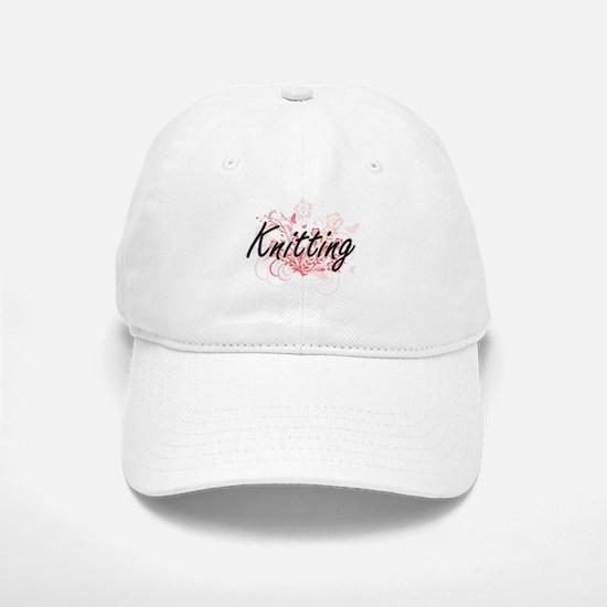 Knitting Artistic Design with Flowers Baseball Baseball Cap