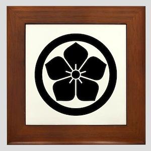 Balloonflower in circle Framed Tile
