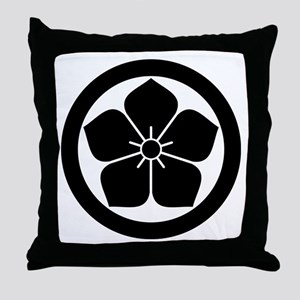 Balloonflower in circle Throw Pillow