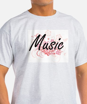 Music Artistic Design with Flowers T-Shirt