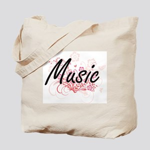 Music Artistic Design with Flowers Tote Bag