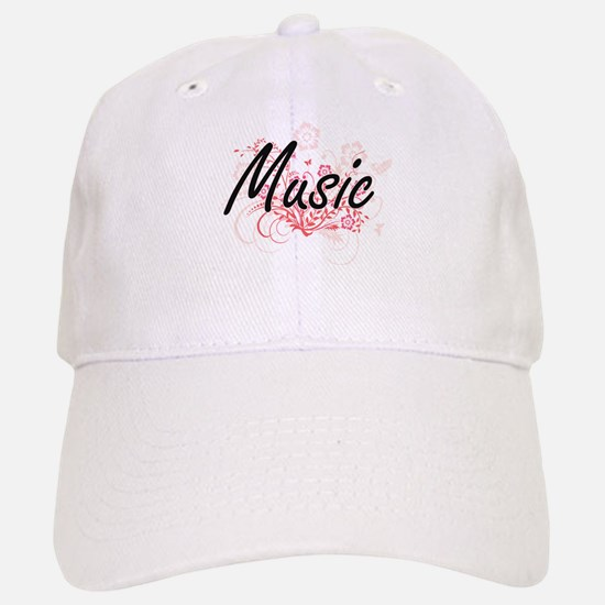 Music Artistic Design with Flowers Baseball Baseball Cap