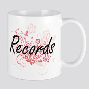 Records Artistic Design with Flowers Mugs