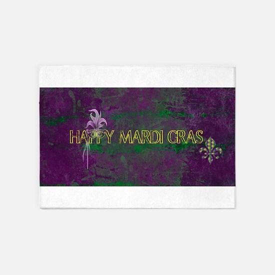 Mardi Gras happy Mardi Gras 5'x7'Area Rug