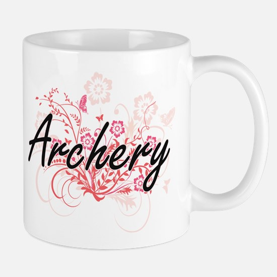 Archery Artistic Design with Flowers Mugs