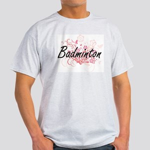Badminton Artistic Design with Flowers T-Shirt