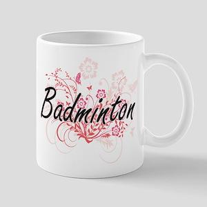 Badminton Artistic Design with Flowers Mugs