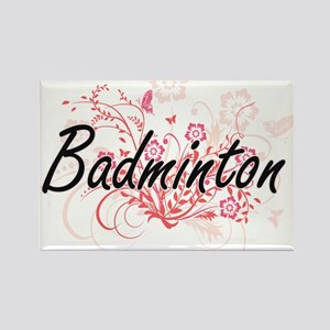 Badminton Artistic Design with Flowers Magnets