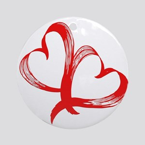 Double Heart Round Ornament