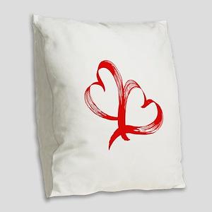 Double Heart Burlap Throw Pillow