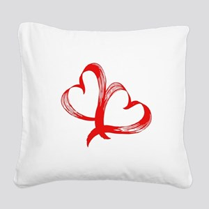 Double Heart Square Canvas Pillow