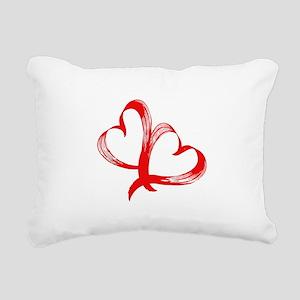 Double Heart Rectangular Canvas Pillow