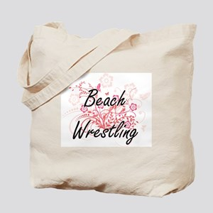 Beach Wrestling Artistic Design with Flow Tote Bag