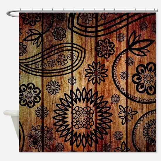 Ornate Wooden Planks Shower Curtain