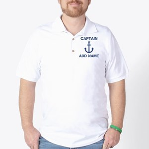 Custom Boat Captain Name Anchor Golf Shirt