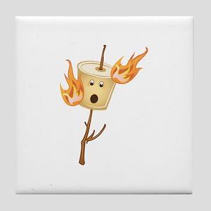 Flaming Marshmallow Tile Coaster