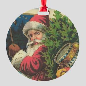 Vintage Christmas Santa Round Ornament