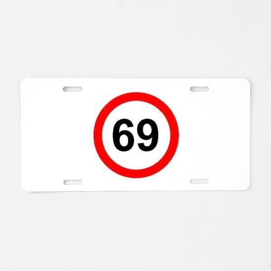 69 - SOIXANTE NEUF - RED CI Aluminum License Plate