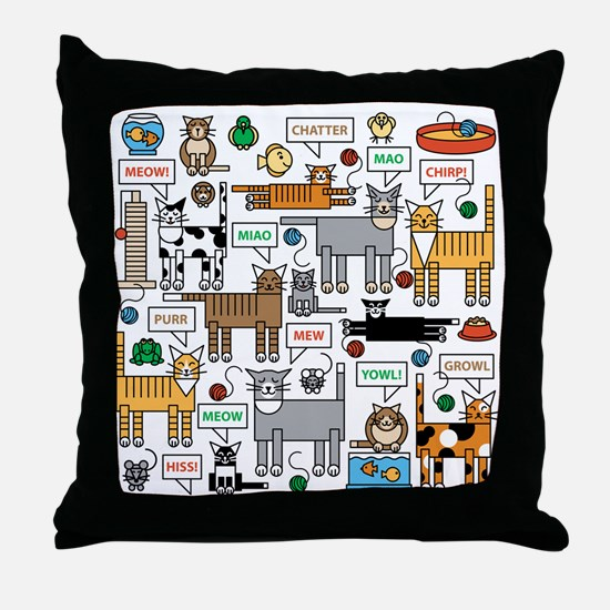 What Cats Say Throw Pillow