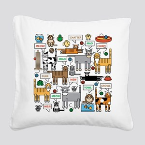 What Cats Say Square Canvas Pillow