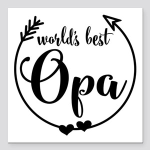 """World's Best Opa Square Car Magnet 3"""" x 3"""""""