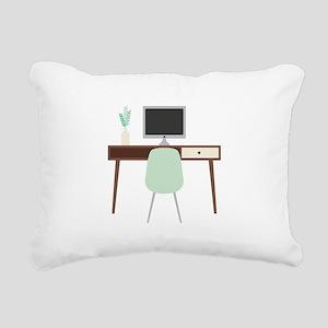 Midcentury Modern Desk Rectangular Canvas Pillow