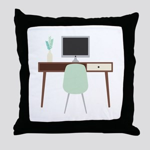 Midcentury Modern Desk Throw Pillow