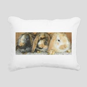 Harlequin Mini Lop Trio Rectangular Canvas Pillow