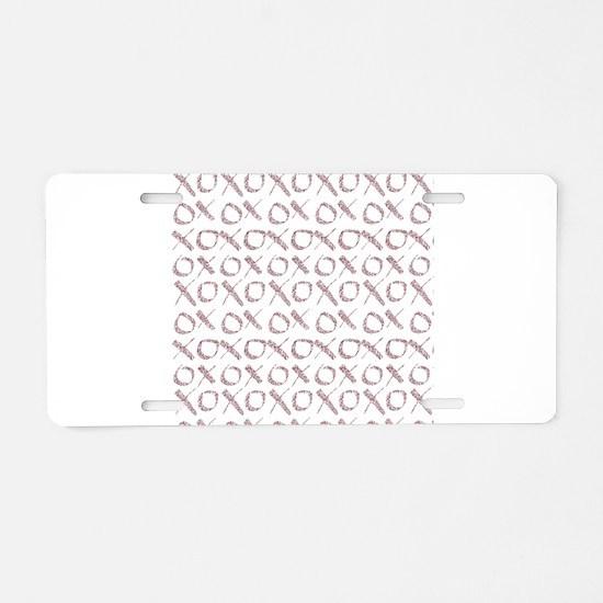 xoxo Rose Glitter Aluminum License Plate