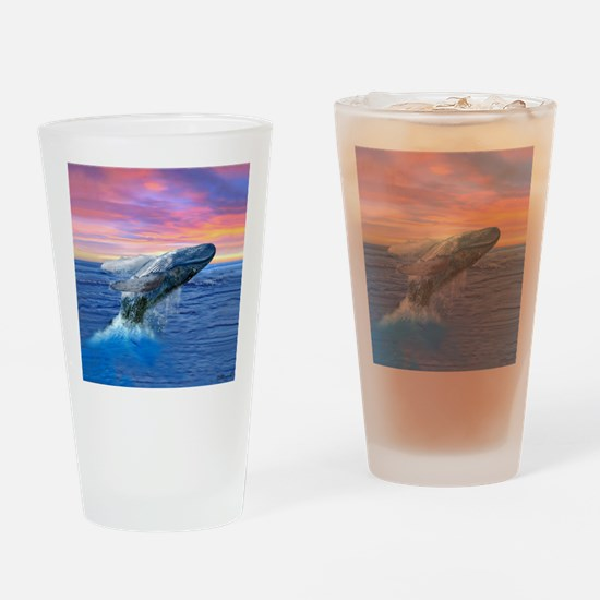 Humpback Whale Breaching at Sunset Drinking Glass