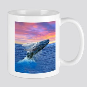 Humpback Whale Breaching at Sunset Mugs