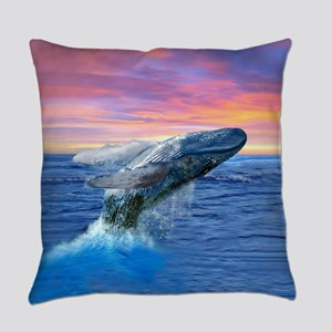 Humpback Whale Breaching at Sunset Everyday Pillow