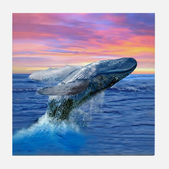 Humpback Whale Breaching at Sunset Tile Coaster