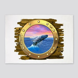 Humpback Whale Breaching at Sunset 5'x7'Area Rug