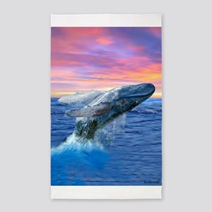 Humpback Whale Breaching at Sunset Area Rug