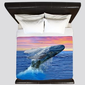 Humpback Whale Breaching at Sunset King Duvet