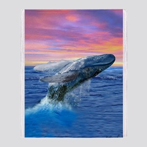 Humpback Whale Breaching at Sunset Throw Blanket