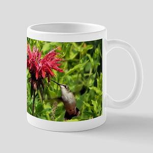 Hummingbirds on Red Bee Balm Mugs