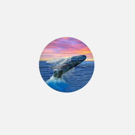 Humpback Whale Breaching at Sunset Mini Button