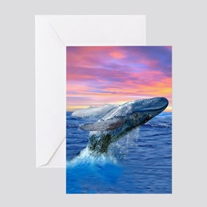 Humpback Whale Breaching at Sunset Greeting Cards