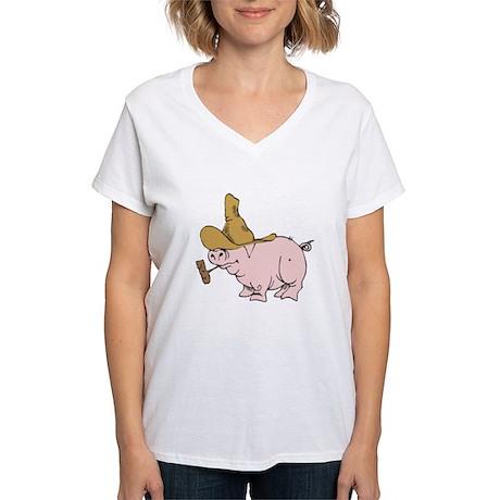 Hillbilly Country Pig Women's V-Neck T-Shirt
