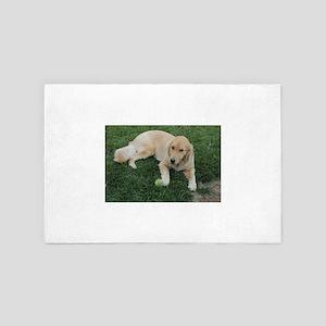 Nala young golden retriever with tenni 4' x 6' Rug