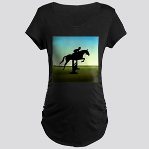 Hunter Jumper Grassy Field Maternity Dark T-Shirt