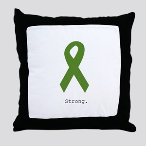 Green Ribbon: Strong Throw Pillow