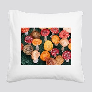 Mushroom garden ornaments Square Canvas Pillow