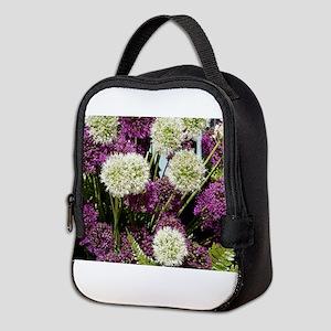 Purple & white alliums Neoprene Lunch Bag