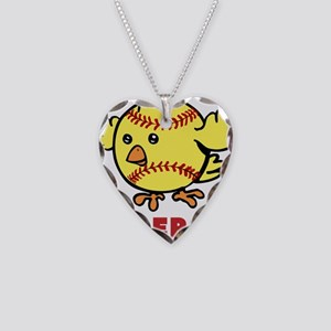 Personalized Softball Chick Necklace Heart Charm