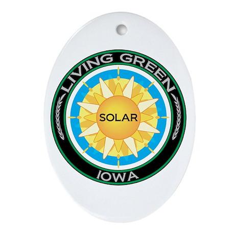 Living Green Iowa Solar Energy Oval Ornament