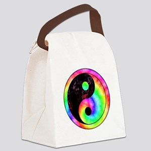 Rainbow Swirl Yin Yang Symbol Canvas Lunch Bag